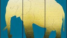 DAVID Pierre, 0 Éléphant Vanité, 244x340cm, pigment bleu de fresque/bois (3 volets), 2002