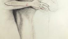 Mylène BESSON, graphite pastels broderie et perforations, 120x80cm, 2011