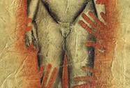BESSON Mylène, fusain sur papier huilé marouflé sur toile, 138x52cm, 2008