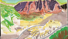 CARBONNE Antoine, Village montagne, dessin, 20x30cm. 2012