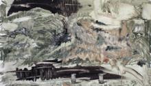 Serge CROIBIER, Paysage à la Martine n°53, peinture/papier, 80x120cm, 2008/10