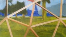 Sépànd DANESH, Paysage avec forme géodésique, 27x46cm, 2012