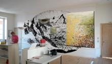 P. STOFFEL, mur peint 3,2x6m + peinture huile/toile, 2005
