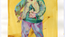 Clémentine MARGHERITI, Sans titre, colle pigment et crayon de couleur sur papier, 2014