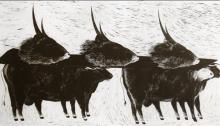 SEYEDIN Marjan, Taureaux Linogravure n°1/15, BFK Rives, 89x165cm, 2006