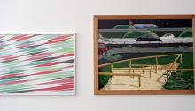 Gauche : Charles NEUBACH, Aérosol, 50x65cm, 2014. Droite : Antoine CARBONNE, gouache, 60x80cm, 2014