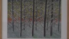 BURRET Hervé, Neige n°8, aquarelle encadrée, 29,5x40cm, 2010