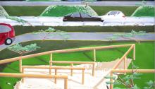 Antoine CARBONNE, Autoroute, gouache 60x80cm encadrée, 2014
