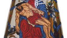 BURRET Hervé, Notre Dame des sept douleurs, 185x145cm, huile sur capot de DS 21, 1998