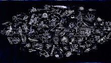 L. WATTS, Constellation, 2010, 150x310cm, œuvre unique