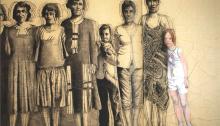 BESSON Mylène, Sagesse, fusain et pastel papier marouflé/toile, 3,50x 2,20m à voir place du Musée des Beaux-Arts