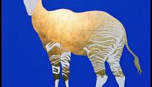 Pierre DAVID, Okapi, Feuilles d'or et pigment de fresque sur Bois, 130x130cm, 2002