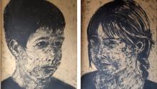 A. SUBERVILLE, Garçon, Fille, MDF peint puis taillé à la disqueuse, 171x120cm chaque