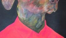 SUBERVILLE A. Chien en chemise,  80x60cm. peinture et pastel gras, 2014