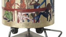Cl. CORNU, Symposium, 2016. Bois, feuilles d'or, huile Ø21,5 H25cm, avec support H46,5cm