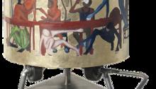 CORNU Clara, Symposium, 2016. Bois, feuilles d'or, huile Ø21,5 H25cm, avec support H46,5cm