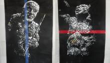 Koffi MENS, L'homme debout, Ousmane SOW, 150x255cm (les 2 parties) 2007