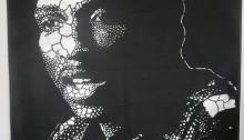 Koffi MENS, À bas l'impérialisme, Thomas SANKARA, 250x150cm 2017