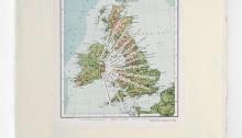 WÜTHRICH Peter (CH), Mr. Bloom's Reflektionen, 2017, Textzeilen aus Ulysses auf Irlandkarte 50x40cm