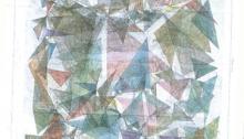 STOFFEL Peter (CH), Trigonométrie Huile sur Carte géographique 78x56cm. 2013