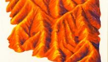 LERGÈS Valentin. Robines rouges, pastel à l'huile sur papier, 70x50cm, 2017