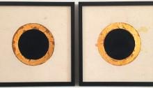 MUTA Wladd Trous noirs, 22x22cm 2019. Encre de chine, papier Lokta, feuilles dorées