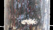 CORNU Clara Le plus haut sommet du monde, Bois, feuilles d'argent oxydées, huile, 2016
