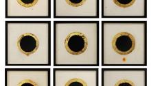 MUTA Wladd, 15 The Black Flower 22,5x22,5cm Encre de chine, papier Lokta, feuilles dorées, 2019