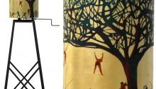 CORNU C. Bataille Bois, feuilles d'or, ø55cm, piét. métal HT180cm. 2013